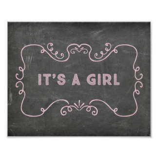 It's a Girl Baby Shower Sign Pink Chalkboard Poster