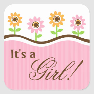 its a girl baby shower stickers with cute flowers