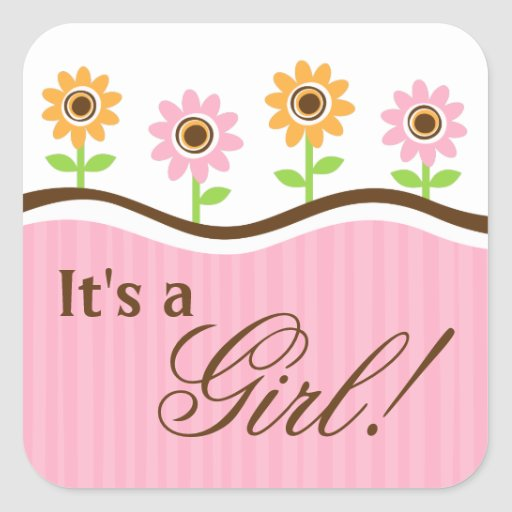 its a girl baby shower stickers with cute flowers zazzle