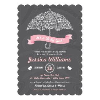 """It's a Girl Baby Shower Umbrella Chalkboard Invite 5"""" X 7"""" Invitation Card"""