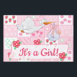 "It&#39;s a Girl, Baby&#39;s Arrived Yard sign<br><div class=""desc"">Pretty in Pink,  Shes Arrived,  Shes here,  Its a Girl,  Sugar and Spice cute baby girl in baby carriage on one said,  the other side is a stork carrying a bundle of joy. Baby Girl announcement yard sign.</div>"