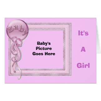 It's A Girl, Baby's Frame pink Greeting Card