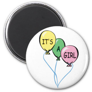 It's A Girl Balloons 2 Inch Round Magnet