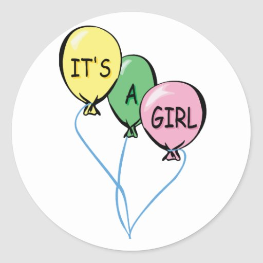 It's A Girl Balloons Classic Round Sticker