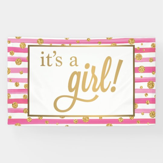 it s a girl banner new baby pink and gold zazzle com