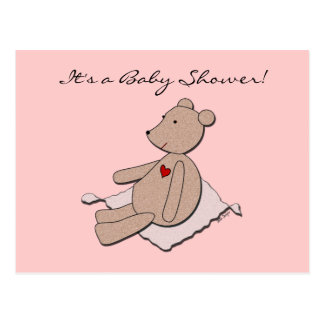 """It's a Girl"" Bear Baby Shower Invitation Postcard"