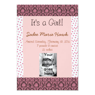 """It's a Girl"" Birth Announcement"
