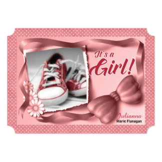 It's a Girl Birth Announcement in Pink Polka Dots
