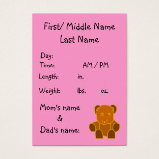 It's A Girl! - birth announcement template Business Card