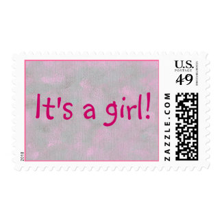 It's a girl! blended pink gray painting stamps