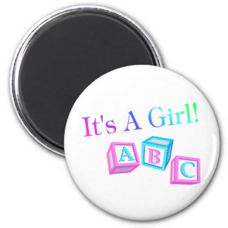 Its A Girl (Blocks) 2 Inch Round Magnet