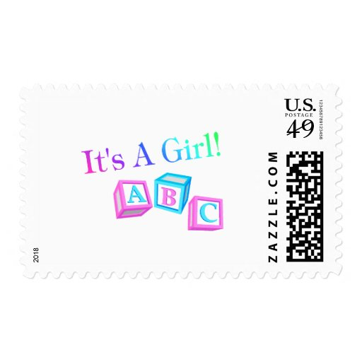 Its A Girl (Blocks) Postage Stamps