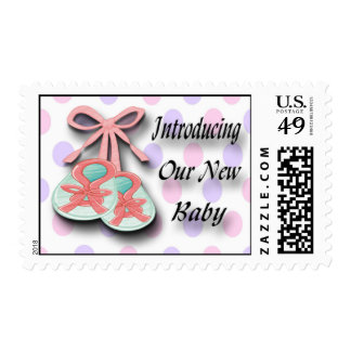 It's a Girl Booties Birth Announcement Postage