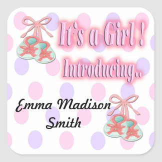 It's a Girl Booties Birth Announcement seal Square Sticker