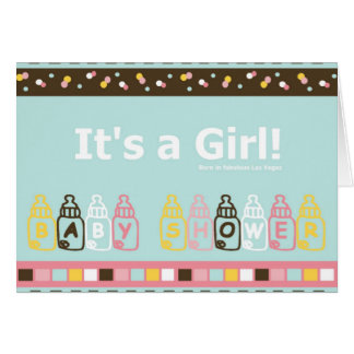 It's a Girl born in Vegas Baby Shower Card