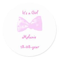It's a girl -bow-sticker - - classic round sticker