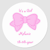 It's a girl -bow-sticker classic round sticker