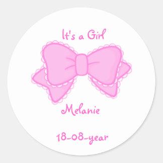 It's a girl -bow-sticker classic round sticker
