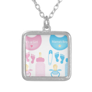 its a girl boy square pendant necklace