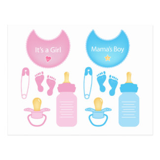 its a girl boy postcard