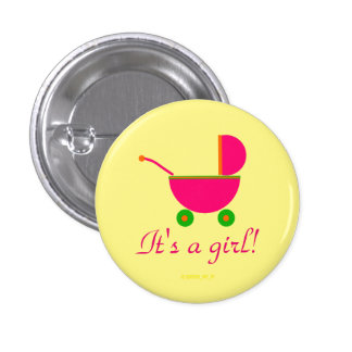 """It's a Girl!"" - Bright Pink Stroller Pinback Button"