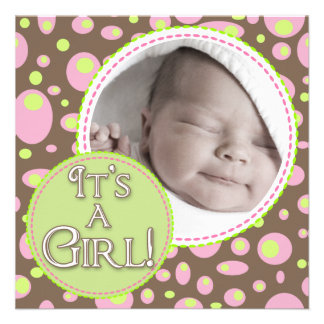 It's a Girl Brown and Green Circles Personalized Invitation