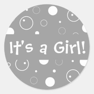 It's a Girl! Bubbles Envelope Sticker Seal