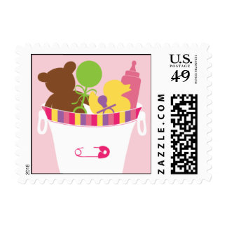 It's a Girl Bucket Postage Stamp