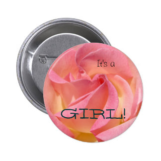 It's a GIRL! button favors Pink Rose Flowers Baby