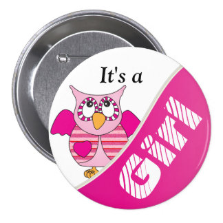 It's A Girl Button Pin