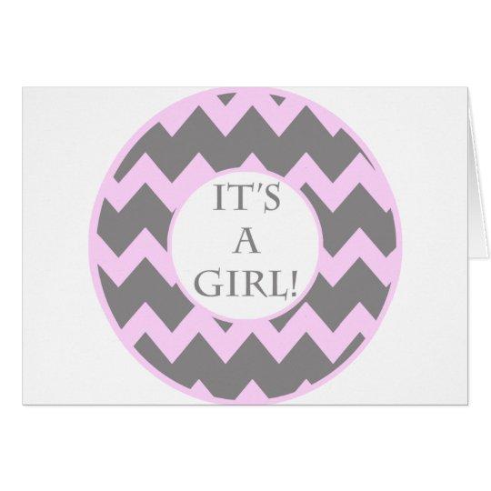 Its A Girl Chevron Milestone Card