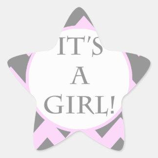 Its A Girl Chevron Milestone Star Sticker