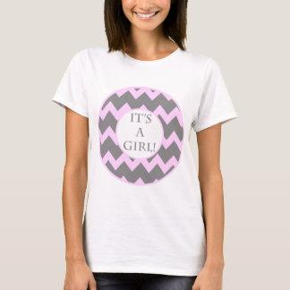 Its A Girl Chevron Milestone T-Shirt