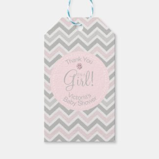 Its a Girl Chevron Pink Grey Baby Shower Favor
