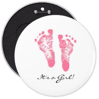 Its a Girl Chic Pink Newborn Footprints Button
