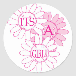 Its A Girl Classic Round Sticker