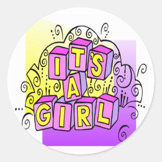 It's A Girl Classic Round Sticker