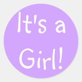 It's a Girl! Classic Round Sticker