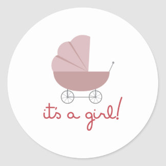 Its A Girl Classic Round Sticker