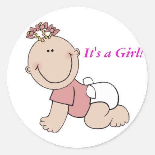 It's a Girl ! Classic Round Sticker