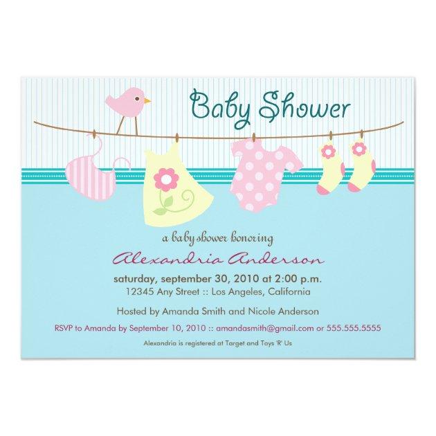 It's a Girl! Clothesline Baby Shower Invitation | Zazzle