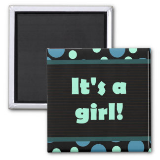 It's a Girl! Colorful Dots Dark Blues Magnet