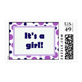 It's a girl! Colorful Dots Design Purple Postage