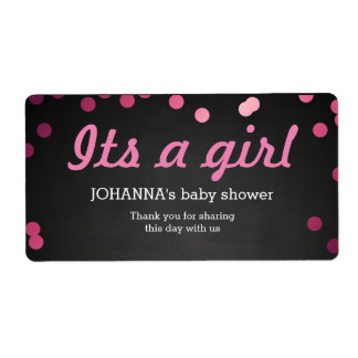 Its A Girl Confetti Chalkboard Water Bottle Favor Label