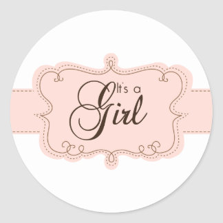 It's a Girl Cupcake Toppers/Stickers Classic Round Sticker