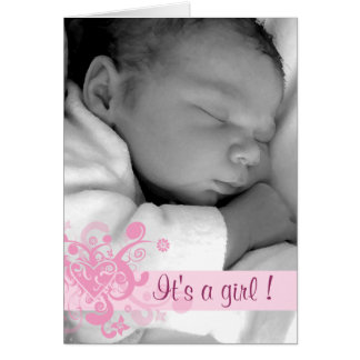 It's a Girl - Customized Greeting Card