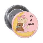 It's A Girl - Cute Baby Cartoon Pinback Button