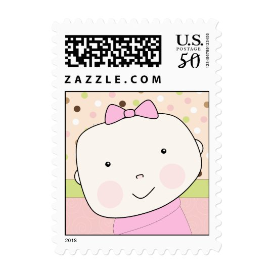 It's a Girl! Cute Baby Girl Face with Polka Dots Postage
