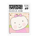 It's a Girl! Cute Baby Girl Face with Polka Dots Stamp