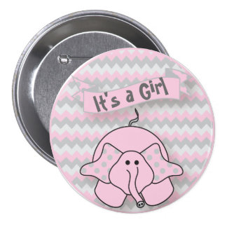 It's A Girl Cute Elephant | Baby Shower Button